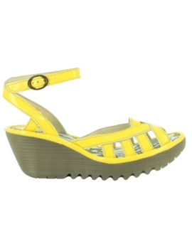 sandalia cuña Yuma serie Yellow_Fly London_ yellow y black
